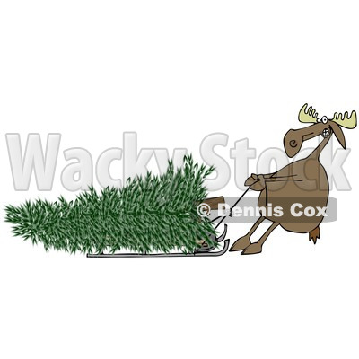 Clipart of a Moose Pulling a Christmas Tree Ona Sled - Royalty Free Illustration © djart #1225961