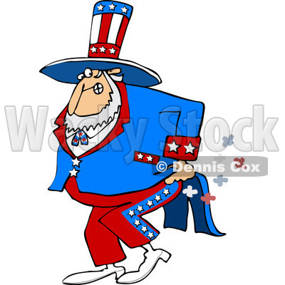 Clipart of Uncle Sam Farting - Royalty Free Vector Illustration © djart #1225966