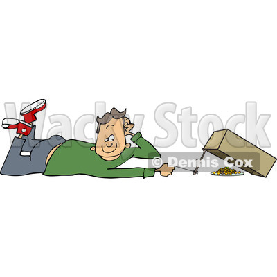 Clipart of a Caucasian Boy Setting a Box Trap - Royalty Free Vector Illustration © djart #1226226