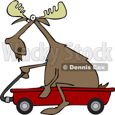 Clipart of a Moose Riding in a Red Wagon - Royalty Free Vector Illustration © djart #1227681