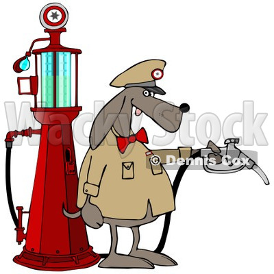 Clipart of a Dog Attendant by an Old Fashioned Gas Pump - Royalty Free Illustration © djart #1230110