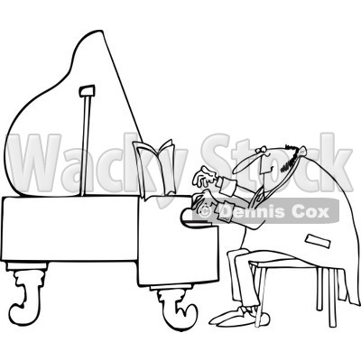 Clipart of a Black and White Pianist Man Playing Music - Royalty Free Vector Illustration © djart #1230185