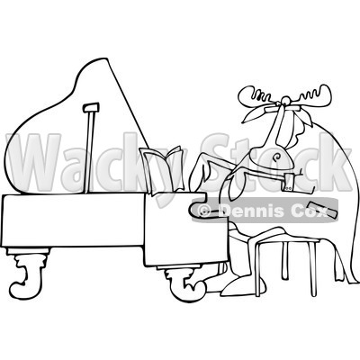 Clipart of a Black and White Pianist Moose Playing Music - Royalty Free Vector Illustration © djart #1230188