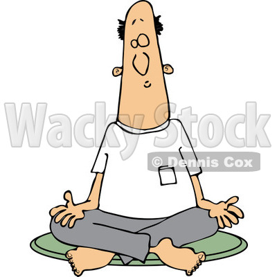 Clipart of a White Man Meditating in the Lotus Pose - Royalty Free Vector Illustration © djart #1230192