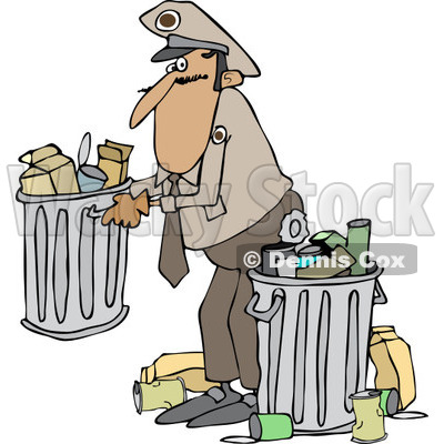 Clipart of a Man Picking up a Garbage Can - Royalty Free Vector Illustration © djart #1231052