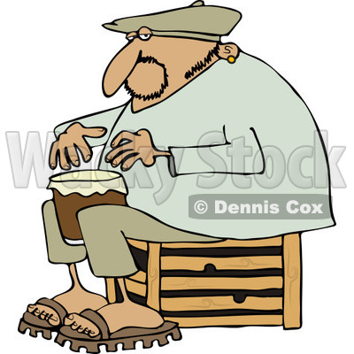 Clipart of an Indian Man Sitting on a Crate and Playing a Drum - Royalty Free Vector Illustration © djart #1231229