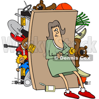 Clipart of a Caucasian Woman Pushing Her Back Against a Full Closet - Royalty Free Vector Illustration © djart #1232326