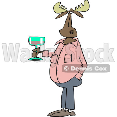 Clipart of a Casual Moose Holding a Glass of Wine - Royalty Free Vector Illustration © djart #1235313