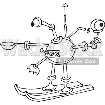 Clipart of a Black and White Skiing Robot - Royalty Free Vector Illustration © djart #1235899