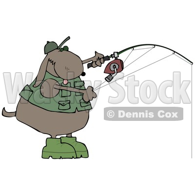 Dog in a Vest and Hat, Fishing Clip Art Illustration © djart #12362