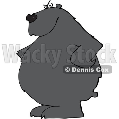 Clipart of a Stern Black Bear with His Hands on His Hips - Royalty Free Vector Illustration © djart #1237204