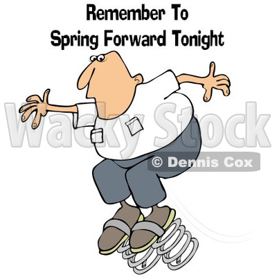 Clipart of a Caucasian Man Bouncing with Remember to Spring Forward Tonight Text - Royalty Free Illustration © djart #1237635