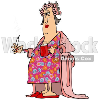 Clipart of a Fat White Woman in Curlers and a Robe, Smoking a Cigarette and Holding Coffee - Royalty Free Illustration © djart #1237638