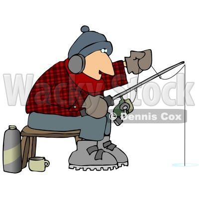 Cold Man Ice Fishing in the Winter Clipart Picture © djart #12377