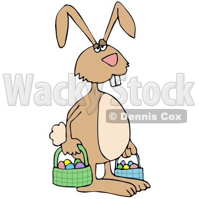 Tired Easter Bunny Carrying Eggs in Baskets Clipart Picture © djart #12378