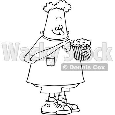 Clipart of a Black and White Boy Eating a Cupcake - Royalty Free Vector Illustration © djart #1238252