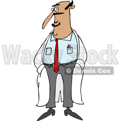 Clipart of a Hispanic Male Doctor Standing in a Lab Coat - Royalty Free Vector Illustration © djart #1238253