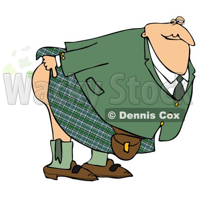Clipart of a Man in a Kilt, Bending over and Releasing a Scotch Gas Fart - Royalty Free Illustration © djart #1239287