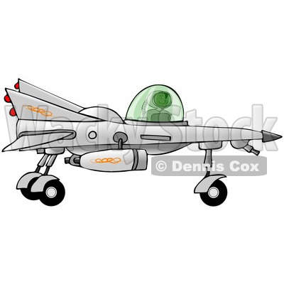 Clipart of a Black Boy Astronaut Flying a Star Fighter Jet - Royalty Free Illustration © djart #1239684