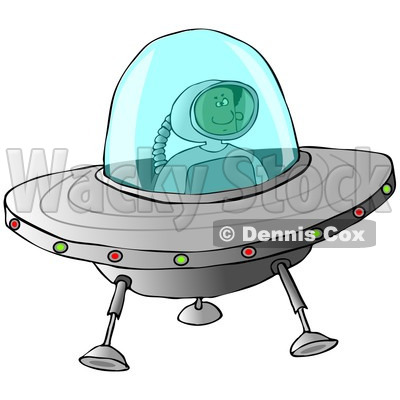 Clipart of a Black Astronaut Flying a UFO - Royalty Free Illustration © djart #1239685