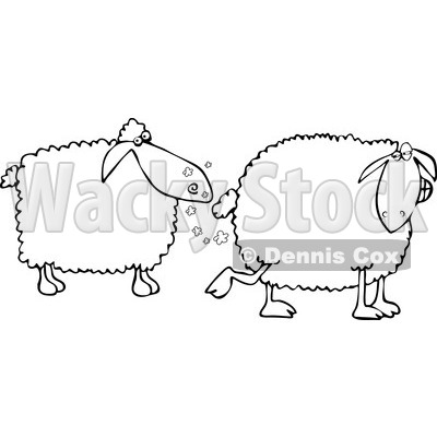 Clipart of a Black and White Sheep Farting in Another's Face - Royalty Free Vector Illustration © djart #1240163
