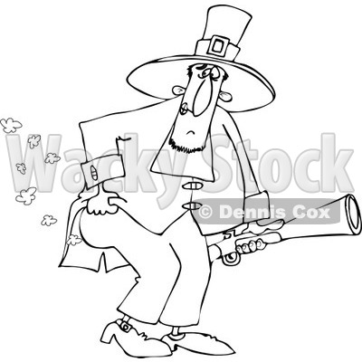 Clipart of a Black and White Male Pilgrim Holding a Blunderbuss and Farting - Royalty Free Vector Illustration © djart #1240166