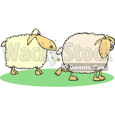 Clipart of a Sheep Farting in Another's Face - Royalty Free Vector Illustration © djart #1240176