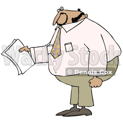 Clipart of a Black Businessman Holding Papers and Wearing a Pink Shirt - Royalty Free Illustration © djart #1240178