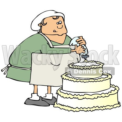 Clipart of a Chubby White Baker Chef Woman Frosting a Wedding Cake - Royalty Free Illustration © djart #1241517
