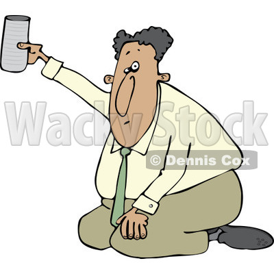 Clipart of a Hispanic Businessman Kneeling on the Ground and Begging with a Cup - Royalty Free Vector Illustration © djart #1242875