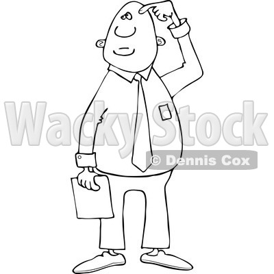 Clipart of a Black and White Confused Businessman Scratching His Head - Royalty Free Vector Illustration © djart #1243190