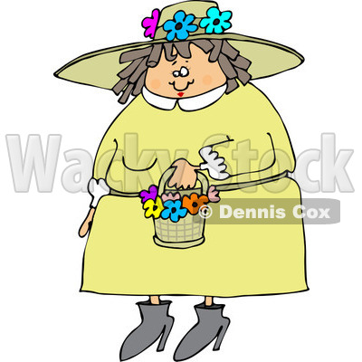 Clipart of a Chubby Caucasian Woman in a Green Dress and Spring Flower Bonnet - Royalty Free Vector Illustration © djart #1243203