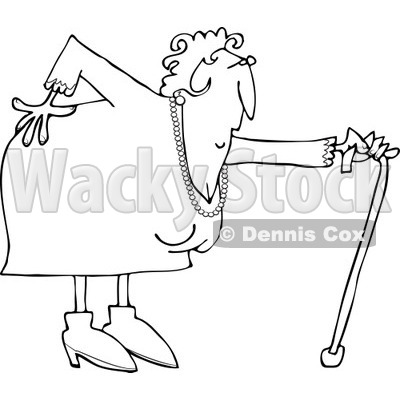 Clipart of a Black and White Granny with a Bad Back and Cane - Royalty Free Vector Illustration © djart #1243840