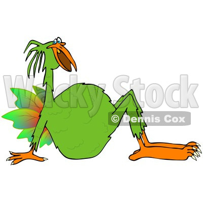 Clipart of a Strange Green Bird Leaning Back - Royalty Free Illustration © djart #1243844