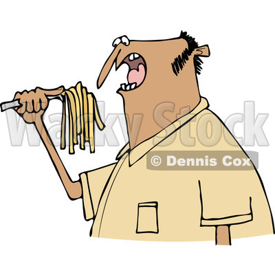 Clipart of a Hispanic Man Eating Spaghetti - Royalty Free Vector Illustration © djart #1244186