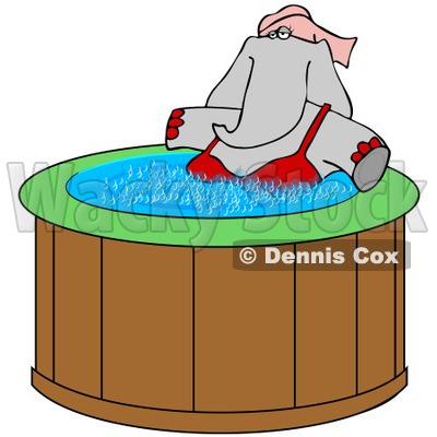 Clipart of a Female Elephant Soaking in a Hot Tub - Royalty Free Illustration © djart #1251012