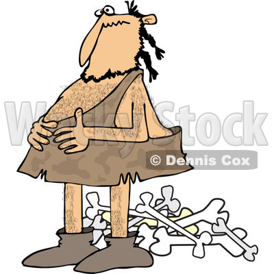 Clipart of a Full Caveman Holding His Belly over a Pile of Bones - Royalty Free Vector Illustration © djart #1251506