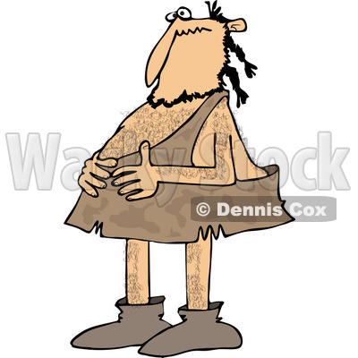 Clipart of a Caveman Holding His Stomach - Royalty Free Vector Illustration © djart #1251508