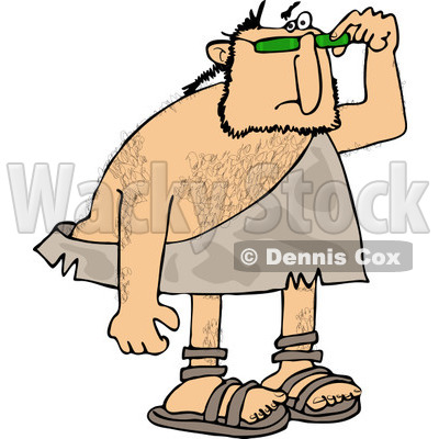 Clipart of a Caveman Looking over His Sunglasses - Royalty Free Vector Illustration © djart #1253047