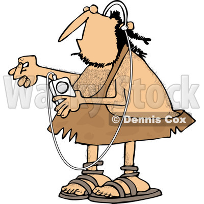 Clipart of a Caveman Listening to Music on an Mp3 Player - Royalty Free Vector Illustration © djart #1254309