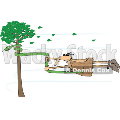 Clipart of a Caveman Holding onto a Snake on a Tree in a Wind Storm - Royalty Free Vector Illustration © djart #1254843