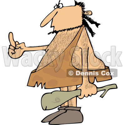 Clipart of a Hairy Caveman Holding a Club and Flipping the Bird - Royalty Free Vector Illustration © djart #1255029