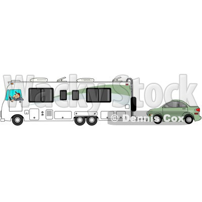 Clipart of a Caucasian Man Driving a Class a Motorhome and Towing a Car - Royalty Free Illustration © djart #1256069
