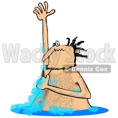Clipart of a Hairy Man Lathering up and Bathing in a Stream - Royalty Free Illustration © djart #1256072