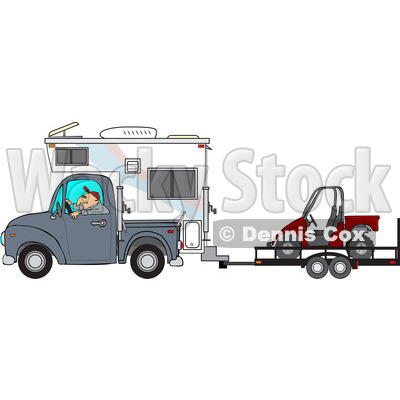 Clipart of a Caucasian Man Driving a Truck and Camper and Towing a Utv - Royalty Free Vector Illustration © djart #1256636