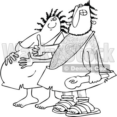 Clipart of a Black and White Happy Expecting Pregnant Caveman Couple - Royalty Free Vector Illustration © djart #1258130