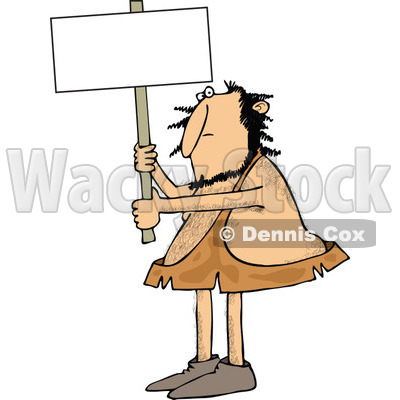 Clipart of a Hairy Caveman Holding up a Blank Sign - Royalty Free Vector Illustration © djart #1258136