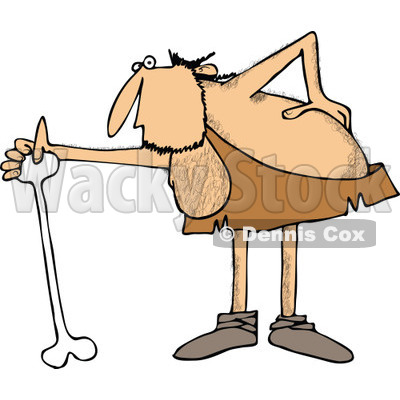 Clipart of a Hairy Caveman with an Injured Back, Using a Bone Cane - Royalty Free Vector Illustration © djart #1258139