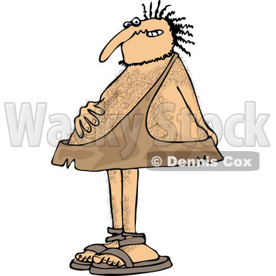 Clipart of a Hairy Caveman with an Upset Tummy - Royalty Free Vector Illustration © djart #1263505