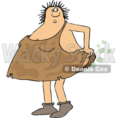 Clipart of a Cavewoman Farting - Royalty Free Vector Illustration © djart #1265329